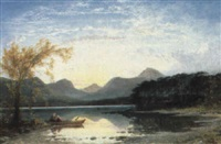 sunset, keswick lake, from near friar's crag... by charles pettitt