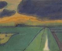 marschlandschaft unter violetter wolke by emil nolde