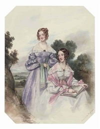 portrait of mary and sarah deacon, drawing in a landscape by edwin dalton smith