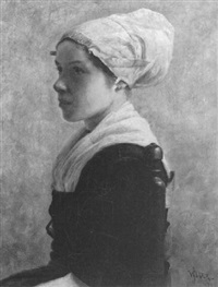 portrait of a dutch girl, seated wearing a white cap by william jacob baer
