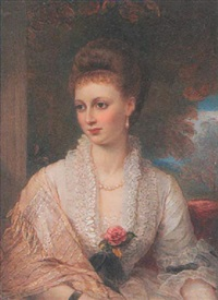 a lady wearing décolleté white dress with frilled collar, silk tasselled shawl, pearl necklace and drop pearl earring, her hair upswept in a plait by reginald easton
