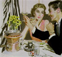 couple toasting at the stork club by joseph de mers