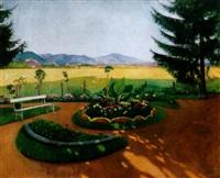 arnyas park, háttérben a napsütötte nagybányával (shadowy park with the sunlit view of nagybánya) by jános krizsán