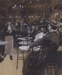 café scene by fernand harvey lungren