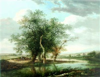 a river landscape with a traveller resting by trees, anglers and a shepherd beyond by fredericus theodorus renard