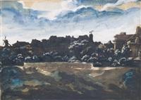 vue de la colline de montmartre (+ combat d'une amazone et d'un lapithe, d'après montfaucon, verso) by théodore géricault