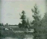cattle in a wooded river landscape by johannes jacobus (jan) heppener