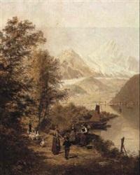 berglandschap met personages by g. lauters