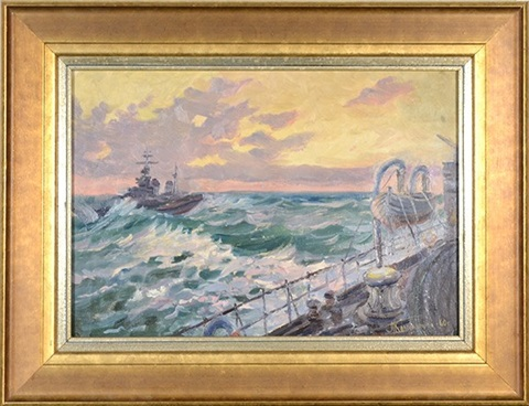 soviet coast guard ships in rough seas soviet ship 2 works by piotr kolomoitsev