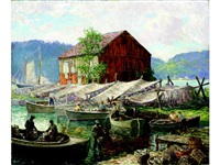old lyme, connecticut, shad fishermen, hamburg cove by winfield scott clime