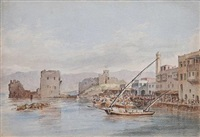 the harbor of beirut on the coast of syria by captain william allen