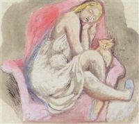 woman with cat by edward douglas eade