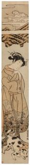 femme au chien (hashira-e) by isoda koryusai