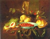 stilleben mit pfirsischen, erdbeeren, weintrauben, einer taschenuhr und einem glas wein by pieter de ring