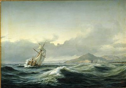 seascape with sailing ship in rough sea in the background a rocky coast by daniel hermann anton melbye