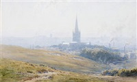 durham cathedral (+ a view of the tyne valley (from jarrow?); pair) by gerald ackermann