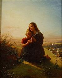 landschap met biddende kinderen (jeune enfants en prière dans un paysage) by johann georg meyer von bremen