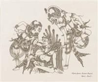 three mythological figures by i gusti nyoman sudara lempad