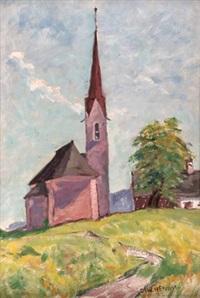 tiroler dorfkirche auf hügel by oswald hengst