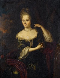 portrait of a lady in a green dress with a red silk wrap, seated before a landscape by aleijda wolfsen