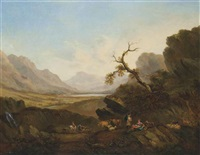 an extensive river landscape with figures resting, cattle and sheep, mountains beyond by john rathbone