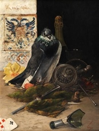 bodegón con paloma (un mala cabeza) by horacio lengo y martinez