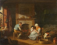a family by the fire by austrian school (19)