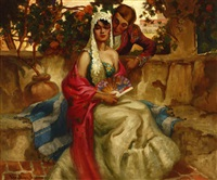 a courtesan and woman sitting in a courtyard by oscar theodore jackman