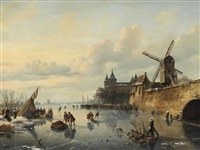 a winter landscape with skaters near a dutch town by cornelis lieste
