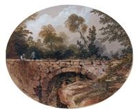 paysage animé au pont by gabriel hippolyte le bas