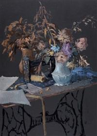 fiori e vecchia macchina da cucire by dino aliberti