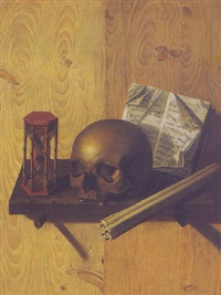 a vanitas still life of a skull, candles, an hour-glass and sheet music on a ledge affixed to a pine wall by andrea domenico remps