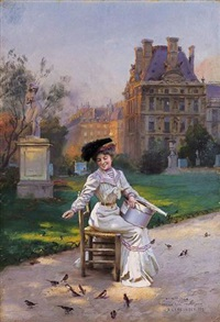 morning in the tuileries by basile lemeunier