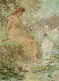 ethereal woman sitting near swans by frederick stuart church