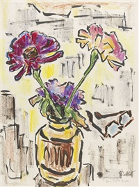 zinnien in vase by karl schmidt-rottluff