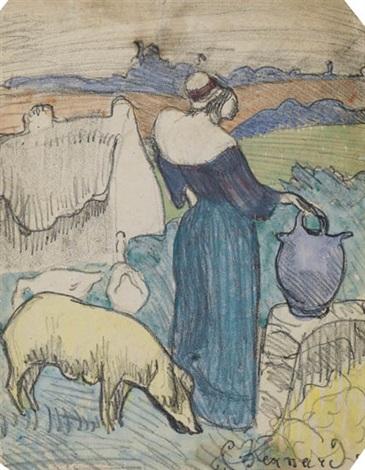 paysanne bretonne ou la ferme à la cruche from les bretonneries by émile bernard
