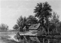a wooded landscape with a peasantwoman by a farmhouse and a traveller watering horses by arie ketting de koningh