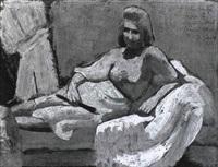 frau auf sofa mit gelber decke by theo garvé