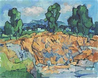 landscape with a cliff and trees by desmond carrick
