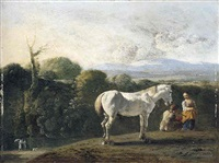 a landscape with a white horse and travellers resting in the foreground, figures beside a river on the left (tobias and the angel?) by bartholomeus engels