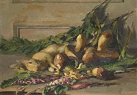 lièvre, cèpes et fleurs sur un entablement (+ sketch, verso) by josué gaboriaud