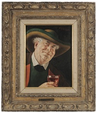 three genre portraits of older austrian men: one with wine glass; one with beer tankard; one with pipe (3 works) by otto eichinger