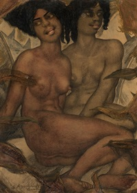 two nudes by eugene andrew agafonoff