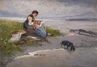 mother with child at chiemsee by karl raupp
