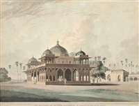 the mausoleum of mucdoom shah dowlut, at moneah, on the river soane (+ ramnugur, near benares, on the river ganges (2 works) from oriental scenery) by thomas daniell