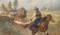 horseman with travelers by woiciech (aldabert) ritter von kossak