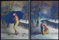 forêt automnale et rivière (2 works) by edmond goldschmidt