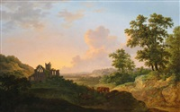 view of tonbridge priory by abraham pether