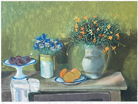still life with flowers plums and oranges by margaret hannah olley