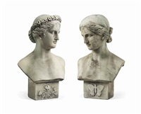 busts of flora and psyche (pair) by lawrence macdonald
